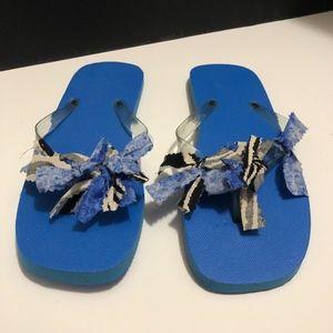 Blue, and Zebra Print, Flip-Flops